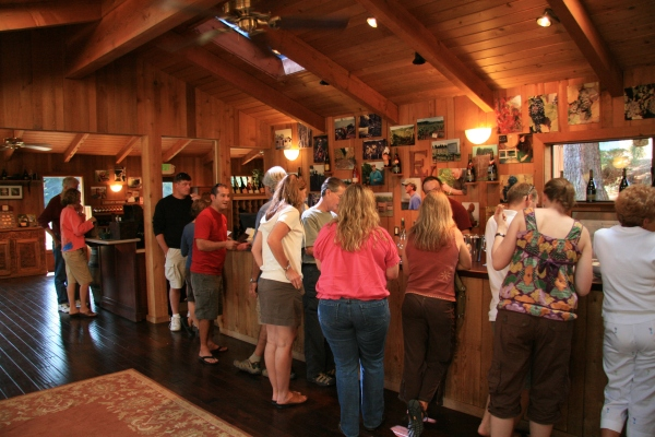 The tasting room at Erath has a warm and friendly atmosphere.
