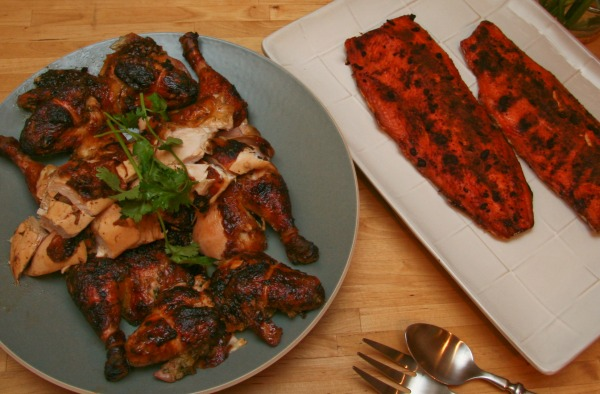 Thai Boxing Square Grilled Chicken and Hot Smoked Coho Salmon