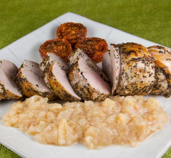 Sage and Rosemary Crusted Roast Pork Tenderloin with Pear Ginger Compote and Slow Baked Tomatoes