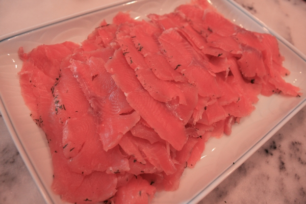 The gravlax after they're sliced.