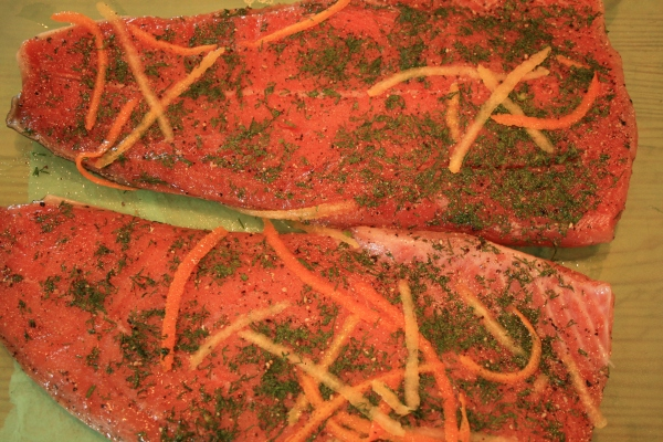 Oregon Coho Gravlax with dill, orange and lemon zest