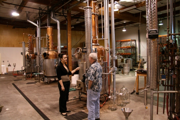 Charles gets a closer look at one of the four stills used at Clear Creek Distillery.
