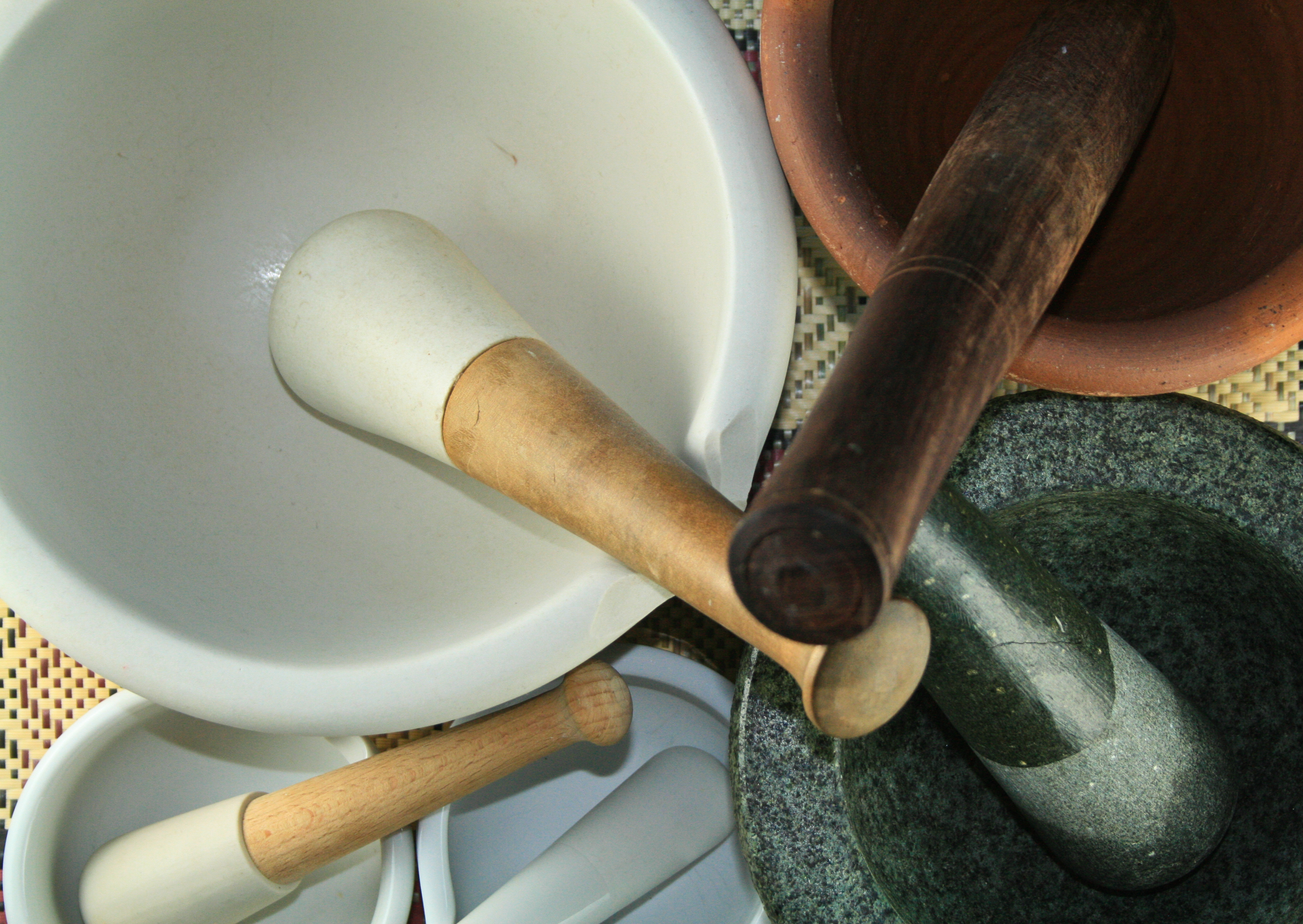 Our modest collection of mortars and pestles