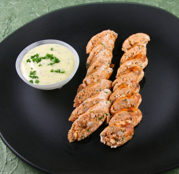 Seafood Sausage with Creamy Mustard - Dill Sauce