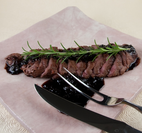 Grilled Venison Flank Steak with Blueberry, Oregon Pinot Noir, and Balsamic Reduction