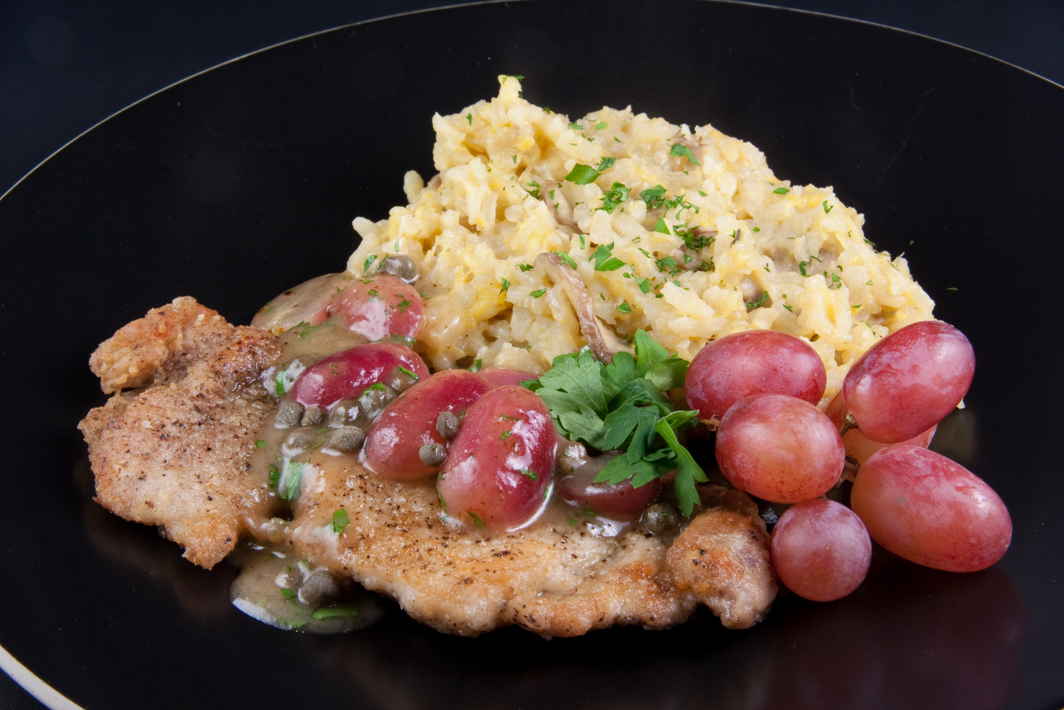 Chicken Piccata with Grapes and Capers & Roasted Delicata Squash and Mushroom Risotto