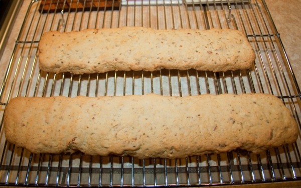 Cornmeal Anise Biscotti after first bake
